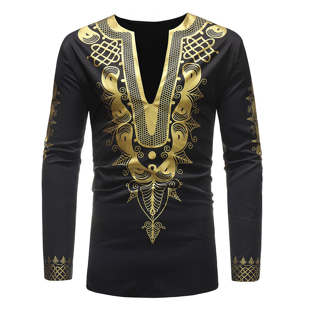 Men's Autumn Winter Luxury African Print Long Sleeve Dashiki Shirt Top Blouse