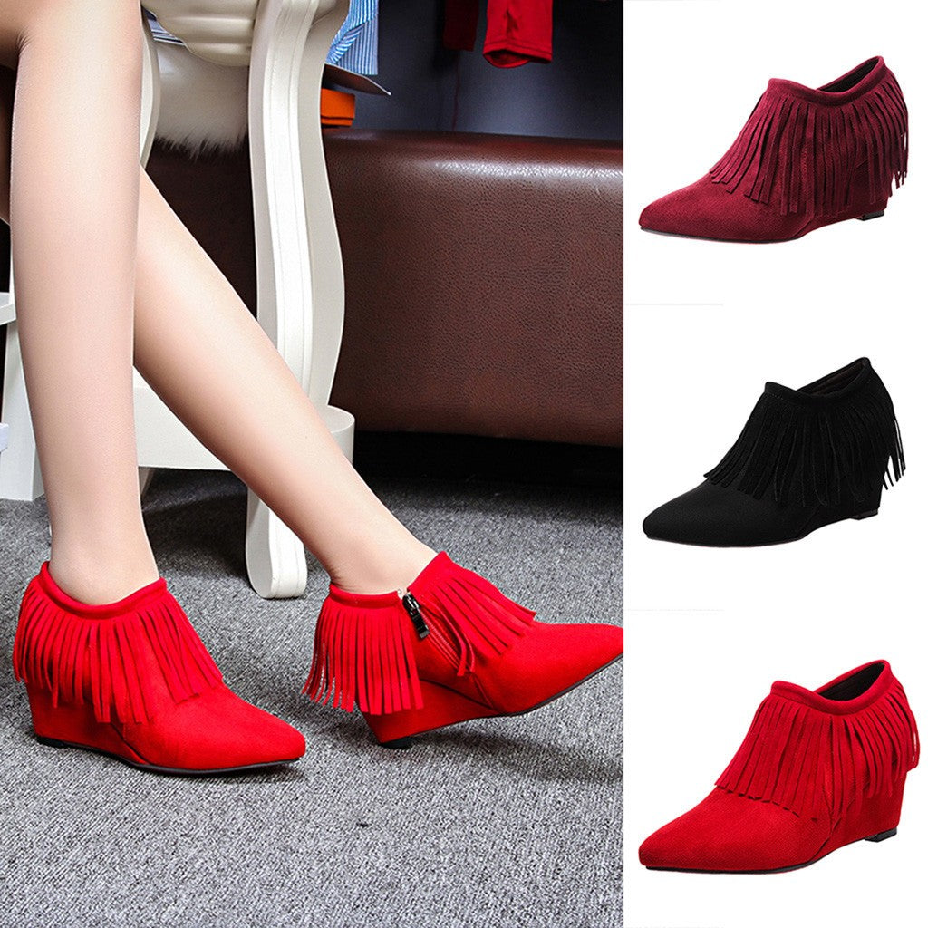 Women's Wedges High Heel Shoes Boots Tassel Ankle Boots Side Zipper Short Boots