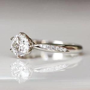 Custom made lab grown diamond engagement ring