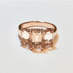 Emerald Cut Morganites rose gold ring