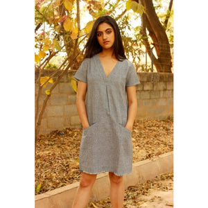 Rhine - S / Indigo (Weaved) Organic Cotton (Handwoven) - Shift Dress
