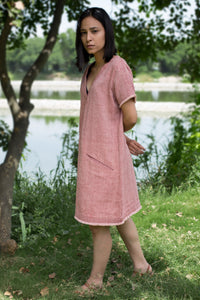 Sustainable organic cotton shift dress red weaves