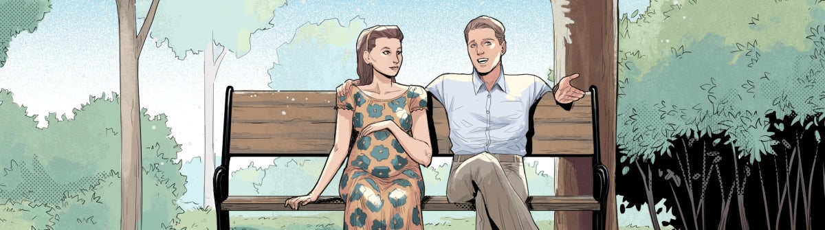 Charlotte and Richard sit on a park bench
