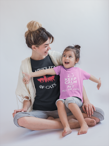 Mother of Cats Shirt and Keep Calm and Pet All The Cats Shirt by Catariffic