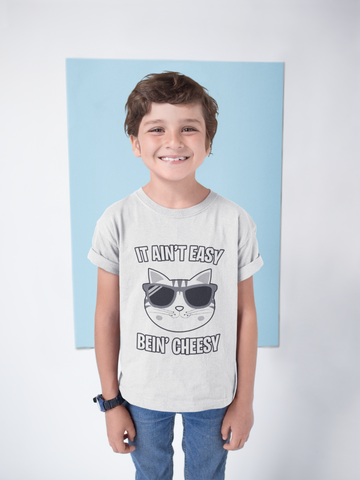 It Ain't Easy Bein' Cheesy Funny Cat Shirt for Kids