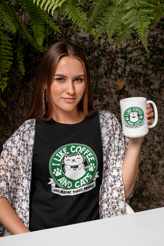 I Like Cats and Coffee And Maybe Three People T-Shirt