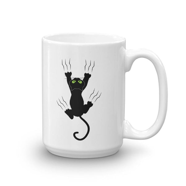 Funny Hanging Black Cat Coffee Mug - Catariffic