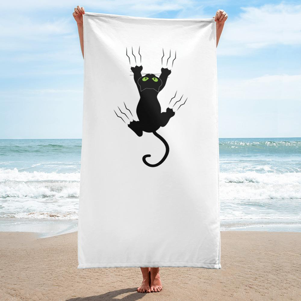 Hanging Black Cat Funny Beach and Bath Towel - Catariffic