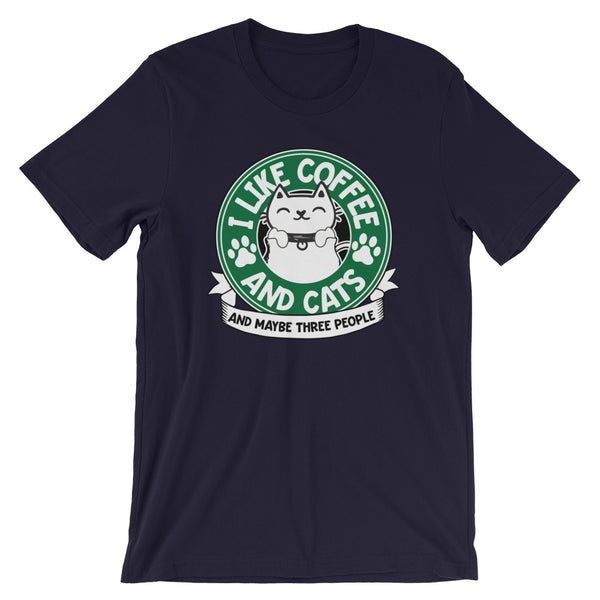 I Like Coffee And Cats And Maybe Three People Funny T-Shirt