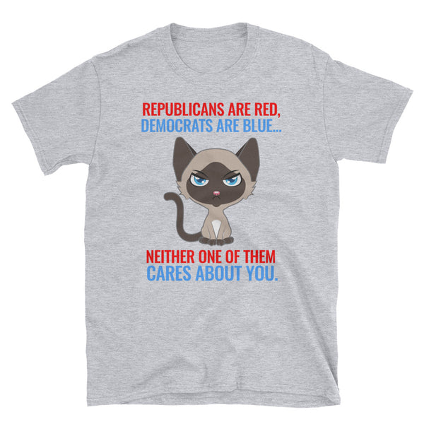 Republicans Are Red, Democrats Are Blue - Funny Cat Shirt