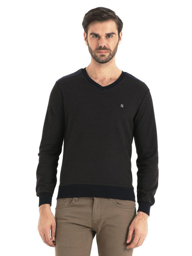 SAYKI Men's V-Neck Navy-Brown Sweatshirt-SAYKI MEN'S FASHION