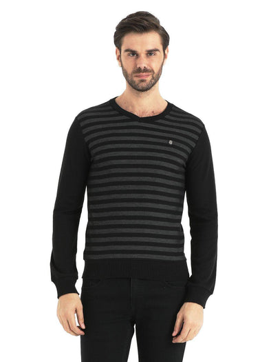 SAYKI Men's V-Neck Black Melange Sweatshirt