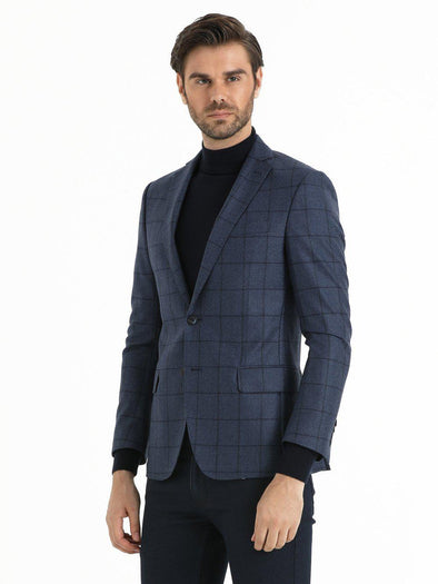 SAYKI Men's Slim Fit Navy Plaid Wool Blazer