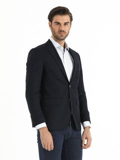 SAYKI Men's Black Slim Fit Single Breasted Wool Blazer-SAYKI MEN'S FASHION
