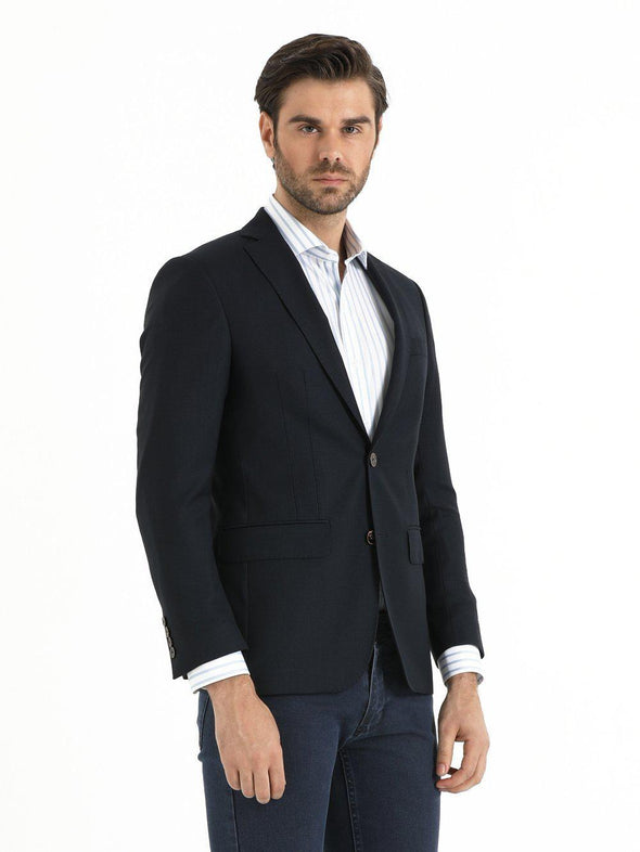 SAYKI Men's Black Slim Fit Single Breasted Wool Blazer