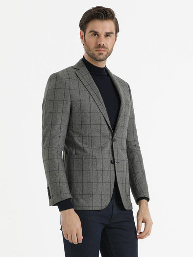 SAYKI Men's Slim Fit Plaid Grey Wool Blazer