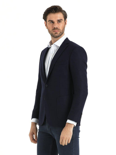 SAYKI Men's Slim Fit Navy Wool Blazer