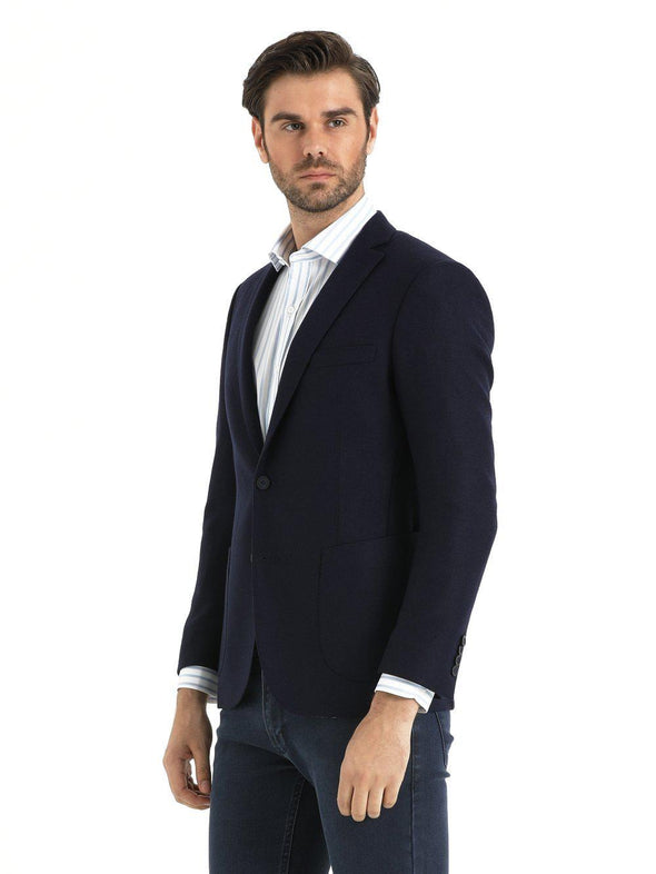 SAYKI Men's Slim Fit Navy Wool Blazer-SAYKI MEN'S FASHION
