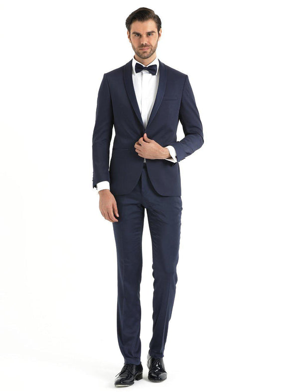 SAYKI Men's Slim Fit Navy Shawl Lapel Tuxedo-SAYKI MEN'S FASHION