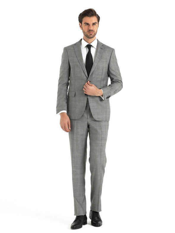 SAYKI Men's Slim Fit Charcoal Double Breasted Suit