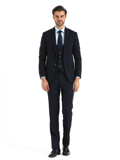 SAYKI Men's Slim Fit Navy Single Breasted Wool Suit with Vest