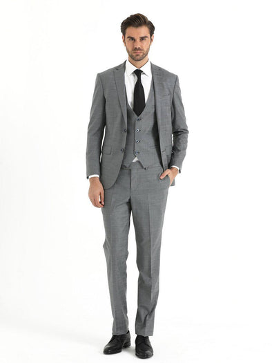 SAYKI Men's Slim Fit Grey Suit with Vest