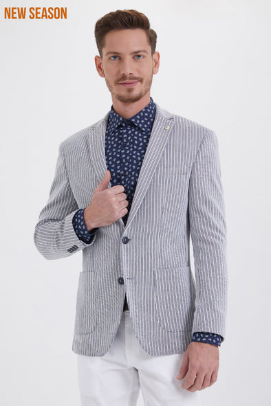 NAVY STRIPED SLIM FIT BLAZER