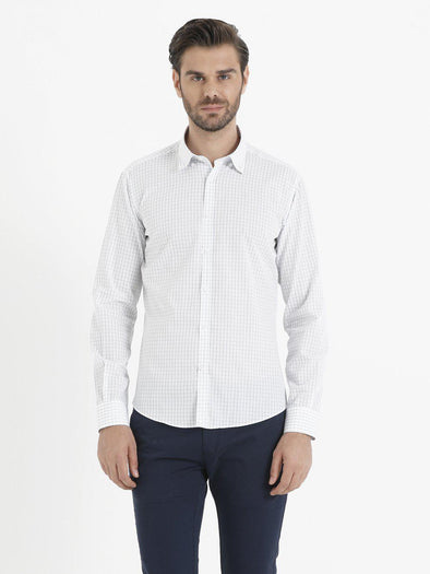 SAYKI Men's Blue Cotton Shirt