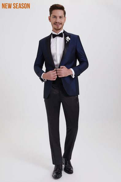 SAYKI Men's Slim Fit Navy Shawl Lapel Tuxedo