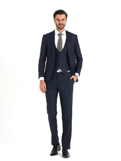SAYKI Men's Slim Fit Navy Three-Piece Suit with Vest