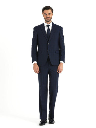 SAYKI Men's Regular Fit Plaid Navy Blue Suit