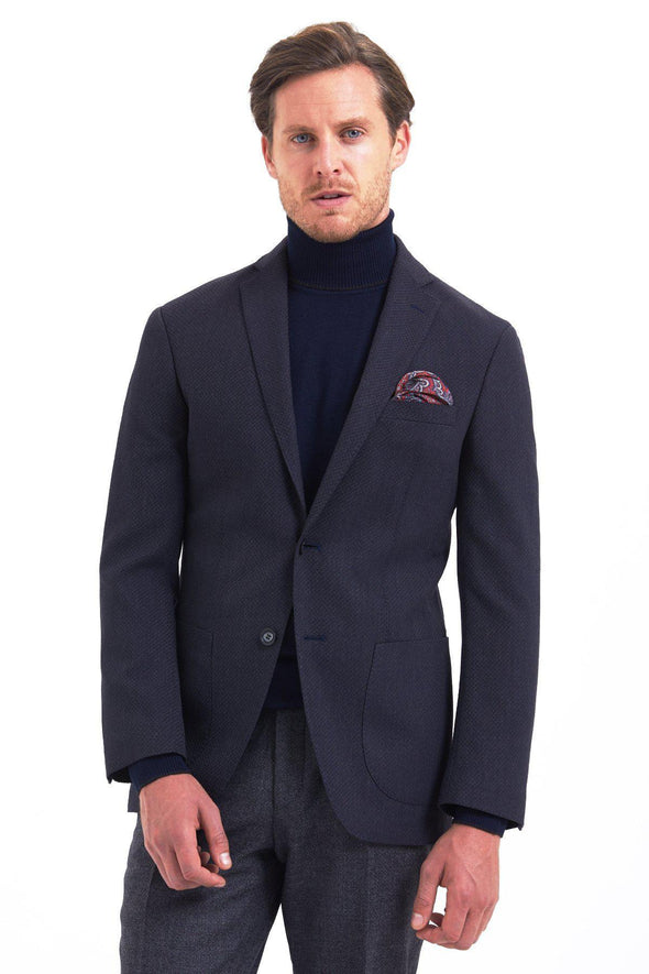 SAYKI Men's Hesper Slim Fit Single Breasted Navy Blazer-SAYKI MEN'S FASHION