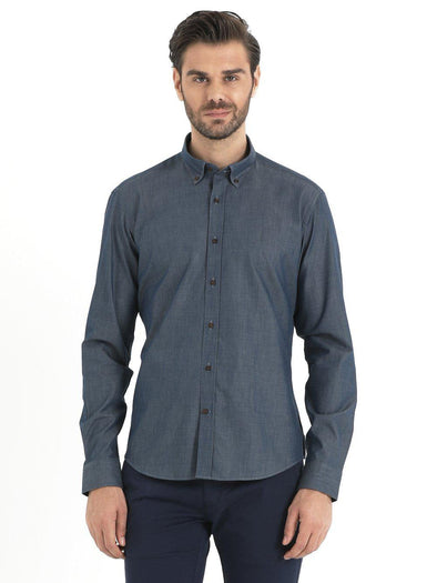 SAYKI Men's Navy Blue Cotton Shirt