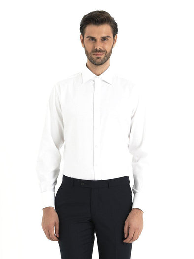 SAYKI Men's Regular Fit White Dress Shirt