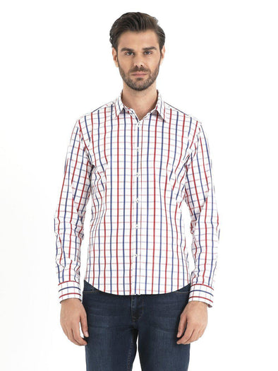 SAYKI Men's Slim Fit Cotton Checkered Shirt