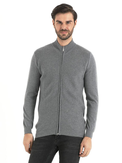 SAYKI Men's Zipper Grey Cardigan-SAYKI MEN'S FASHION