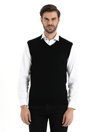 SAYKI Men's V-Neck Black Sweater