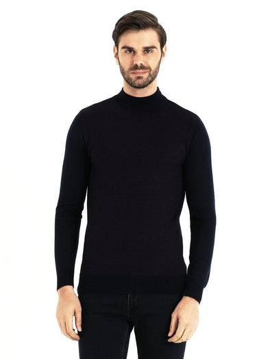 SAYKI Men's Mock Turtleneck Navy-Maroon Sweatshirt