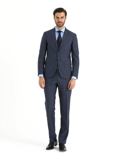 SAYKI Men's Light Navy Slim Fit Single Breasted Wool Suit