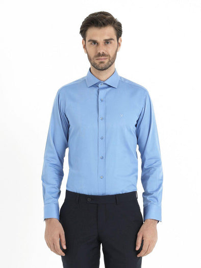 SAYKI Men's Blue Cotton Shirt-SAYKI MEN'S FASHION