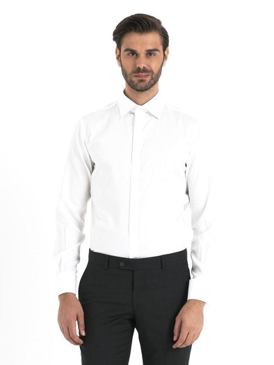 SAYKI Men's Classic White Slim Fit Shirt