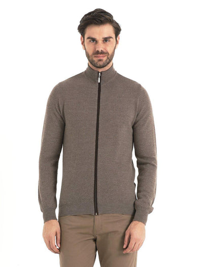 SAYKI Men's Dark Beige Zipper Cardigan-SAYKI MEN'S FASHION