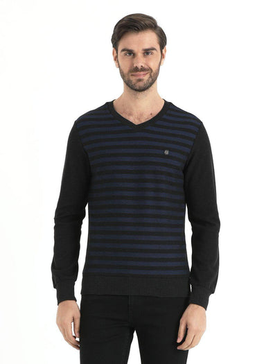 SAYKI Men's V-Neck Navy Blue Sweatshirt-SAYKI MEN'S FASHION