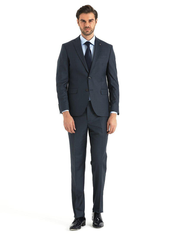 SAYKI Men's Dynamic Fit Charcoal Double Breasted Suit