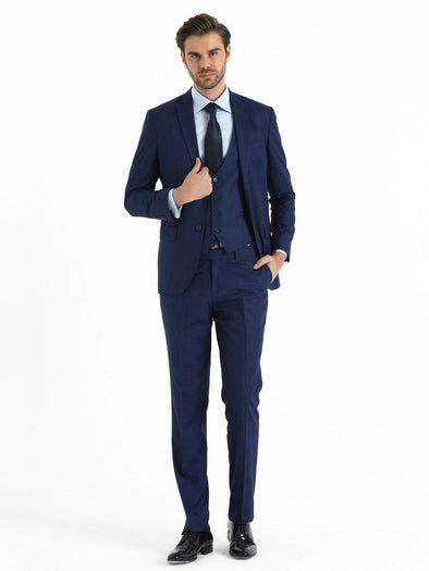 SAYKI Men's Slim Fit Three-Piece Navy Suit with Vest-SAYKI MEN'S FASHION