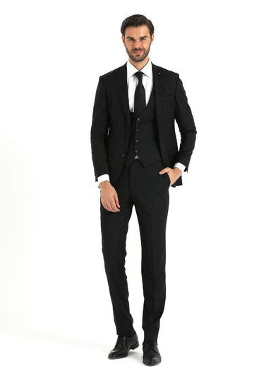 SAYKI Men's Bocelli Slim Fit Single Breasted Black Suit with Vest-SAYKI MEN'S FASHION