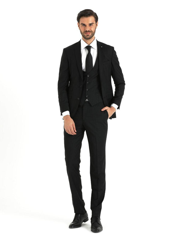 SAYKI Men's Bocelli Slim Fit Single Breasted Black Suit with Vest