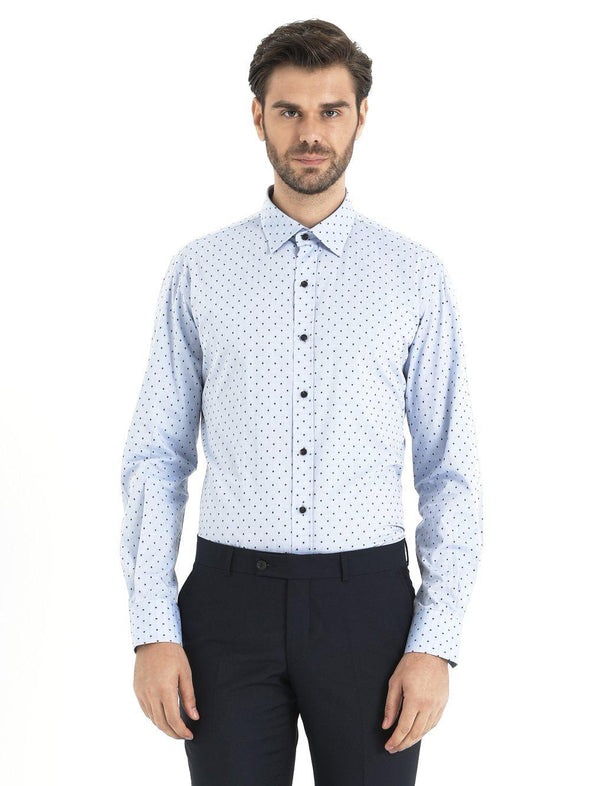 SAYKI Men's Light Blue Polka Dot Cotton Shirt-SAYKI MEN'S FASHION