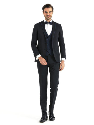 SAYKI Men's Slim Fit Single Breasted Tuxedo with Double Breasted Vest-SAYKI MEN'S FASHION