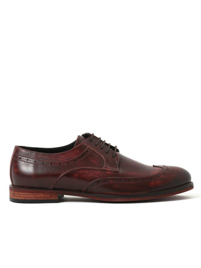 SAYKI Men's Classic Leather Maroon Shoes-SAYKI MEN'S FASHION